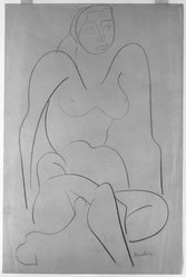 Louise Nevelson (American, born Russia, 1899-1988). Untitled (Seated Female, Frontal View), ca. 1932-1935. Crayon on paper, sheet: 17 7/8 x 11 15/16 in. (45.4 x 30.3 cm). Brooklyn Museum, Gift of Samuel Goldberg in memory of his parents, Sophie and Jacob Goldberg, and his brother, Hyman Goldberg, 78.277.3. © artist or artist's estate