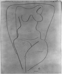 Louise Nevelson (American, born Russia, 1900-1988). Untitled (Female, Frontal View from Knees to Shoulders), ca. 1932-1935. Graphite on paper, sheet: 11 15/16 x 9 7/8 in. (30.3 x 25.1 cm). Brooklyn Museum, Gift of Samuel Goldberg in memory of his parents, Sophie and Jacob Goldberg, and his brother, Hyman Goldberg, 78.277.5. © artist or artist's estate