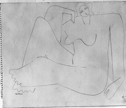 Louise Nevelson (American, born Russia, 1899-1988). [Untitled] (Female Figure Sitting on Floor), ca. 1932-1935. Graphite on paper torn from spiral notebook, sheet: 9 7/8 x 11 7/8 in. (25.1 x 30.2 cm). Brooklyn Museum, Gift of Samuel Goldberg in memory of his parents, Sophie and Jacob Goldberg, and his brother, Hyman Goldberg, 78.277.6. © artist or artist's estate