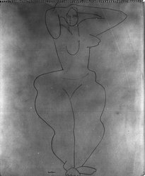 Louise Nevelson (American, born Russia, 1900-1988). Untitled (Standing Female Nude with Robe), ca. 1932-1935. Ink on white wove paper, sheet: 16 x 10 7/16 in. (40.6 x 26.5 cm). Brooklyn Museum, Gift of Samuel Goldberg in memory of his parents, Sophie and Jacob Goldberg, and his brother, Hyman Goldberg, 78.277.7. © artist or artist's estate