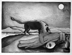 Pat Angle (American, born 1951). Sleeping Saguaro on a Henri Rousseau Desert, February 1976. Hand colored lithograph on paper, Image: 17 1/8 x 22 3/4 in. (43.5 x 57.8 cm). Brooklyn Museum, Designated Purchase Fund, 78.27. © artist or artist's estate