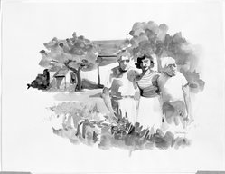 Jon Carsman (American, 1944-1987). Aunt Paulie and Company, 1968. Graphite and watercolor on paper, sheet: 10 3/4 x 13 7/8 in. (27.3 x 35.2 cm). Brooklyn Museum, Gift of the Artist, 78.91.2. © artist or artist's estate