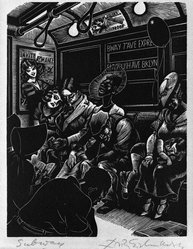 Fritz Eichenberg (American, born 1901). Subway, 1934. Wood engraving on cream-colored wove paper, sheet: 11 7/8 x 8 7/8 in.  (30.2 x 22.5 cm);. Brooklyn Museum, Manufacturer's Hanover Trust Purchase Fund, 79.114.3. © artist or artist's estate