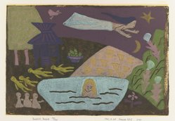 Kimura Koro (Japanese). Buddhist Parable, 1961. Woodblock print in additive colors on white wove paper, Image: 11 5/8 x 16 7/8 in. (29.5 x 42.9 cm). Brooklyn Museum, Gift of Edythe Polster, 79.13.5. © artist or artist's estate
