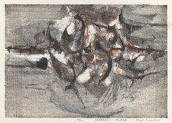 Suzuki Kenji. Daybreak, 1960. Woodblock print, Image: 12 x 16 3/4 in. (30.5 x 42.5 cm). Brooklyn Museum, Gift of Edythe Polster, 79.13.6. © artist or artist's estate