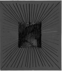 Richard Anuszkiewicz (American, born 1930). Square on Blue, 1977. Graphite on painted ground on board, 9 x 8 in. (22.9 x 20.3 cm). Brooklyn Museum, Gift of Joseph P. Carroll, 79.137.1. © artist or artist's estate