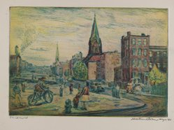 Mortimer Borne (American, born Poland, 1902-1987). Hicks Street - Brooklyn, 1940. Drypoint on cream-colored wove paper, Sheet: 4 1/2 x 5 3/16 in. (11.5 x 13.3 cm). Brooklyn Museum, Anonymous gift, 79.19.3. © artist or artist's estate