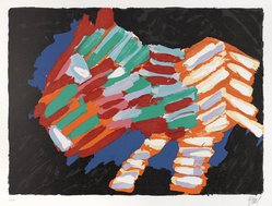 Karel Appel (Dutch, 1921-2006). Cat in the Night, 1978. Lithograph on paper, Sheet: 24 3/4 x 32 1/4 in. (62.9 x 81.9 cm). Brooklyn Museum, Gift of Donald Waggoner, 79.222.3. © artist or artist's estate