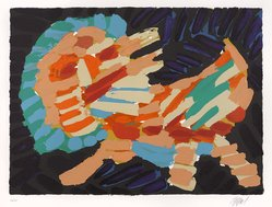 Karel Appel (Dutch, 1921-2006). Smiling Cat, 1978. Lithograph on paper, Sheet: 24 3/4 x 32 1/4 in. (62.9 x 81.9 cm). Brooklyn Museum, Gift of Donald Waggoner, 79.222.5. © artist or artist's estate