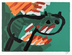 Karel Appel (Dutch, 1921-2006). Green Cat, 1978. Lithograph on paper, Sheet: 24 3/4 x 32 1/4 in. (62.9 x 81.9 cm). Brooklyn Museum, Gift of Donald Waggoner, 79.222.6. © artist or artist's estate