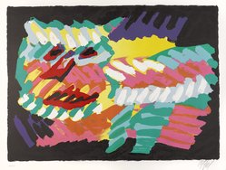 Karel Appel (Dutch, 1921-2006). Pink Cat, 1978. Lithograph on paper, Sheet: 24 3/4 x 32 1/4 in. (62.9 x 81.9 cm). Brooklyn Museum, Gift of Donald Waggoner, 79.222.7. © artist or artist's estate