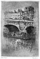 John Marin (American, 1870-1953). Le Pont Neuf, 1905. Etching on Japan paper, Plate: 7 3/4 x 5 3/8 in. (19.7 x 13.6 cm). Brooklyn Museum, Designated Purchase Fund, 79.234. © artist or artist's estate