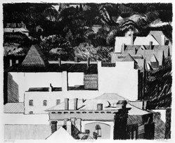 Linda Plotkin (American, born 1938). Hillside Village, 1976. Lithograph on paper, sheet: 22 1/8 x 30 in. (56.2 x 76.2 cm). Brooklyn Museum, Gift of Stephen Andrus, 79.292.25. © artist or artist's estate
