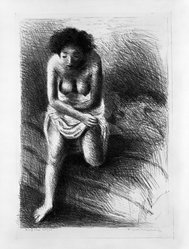 Raphael Soyer (American, born Russia, 1899-1987). Figure Composition, ca. 1933. Lithograph on paper, sheet: 22 7/8 x 16 in. (58.1 x 40.6 cm). Brooklyn Museum, Gift of Samuel Goldberg in memory of his parents, Sophie and Jacob Goldberg, and his brother, Hyman Goldberg, 79.299.11. © Estate of Raphael Soyer