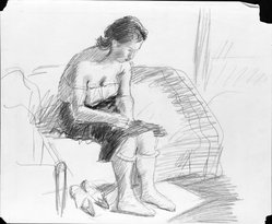 Raphael Soyer (American, born Russia, 1899-1987). Untitled, ca. 1930s. Graphite on paper, Sheet: 14 x 16 7/8 in. (35.6 x 42.9 cm). Brooklyn Museum, Gift of Samuel Goldberg in memory of his parents, Sophie and Jacob Goldberg, and his brother, Hyman Goldberg, 79.299.17. © Estate of Raphael Soyer