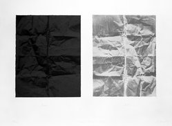 Freddie Fong (American, born China, 1952). Black and Newsprint Grey, 1977. Lithograph on two sheets, Large Sheet: 22 3/8 x 30 in. (56.8 x 76.2 cm). Brooklyn Museum, Gift of ADI Gallery, 79.37.7. © artist or artist's estate