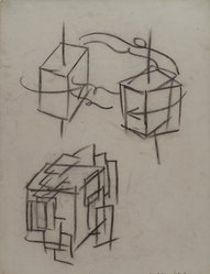 Hans Hofmann (American, 1880-1966). [Untitled] (Lecture Drawing) (Study of a Cube in Space), 1942. Charcoal on ivory, Ingres d'Arches laid paper, sheet: 25 x 19 1/16 in. (63.5 x 48.4 cm). Brooklyn Museum, Gift of Jerome Burns, 79.38.2. © artist or artist's estate