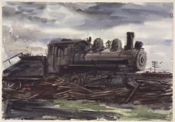 Reginald Marsh (American, 1898-1954). Train, 1930. Transparent and opaque watercolor over graphite on cream, thick, moderately textured wove paper, 13 15/16 x 19 15/16 in. (35.4 x 50.6 cm). Brooklyn Museum, Gift of the Estate of Felicia Meyer Marsh, 79.85.1. © artist or artist's estate