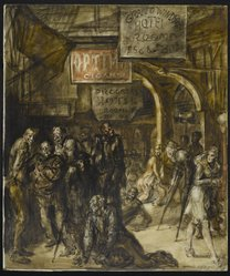 Reginald Marsh (American, 1898-1954). Grand Windsor Hotel (recto) / Burlesque (verso), 1946. Egg tempera on Masonite, 39 7/8 x 33 3/4 in. (101.3 x 85.7 cm). Brooklyn Museum, Gift of the Estate of Felicia Meyer Marsh, 79.85.2. © artist or artist's estate