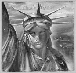 Reginald Marsh (American, 1898-1954). Statue of Liberty, ca. 1954. Egg tempera on masonite, 23 1/2 x 24 1/8 in. (59.7 x 61.3 cm). Brooklyn Museum, Gift of the Estate of Felicia Meyer Marsh, 79.85.3. © artist or artist's estate