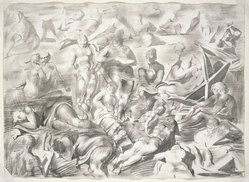Reginald Marsh (American, 1898-1954). Coney Island Beach: A Double Sided Drawing (Recto: The Artist Sketching, Verso: Acrobats), ca. 1951. Ink and ink wash on heavy wove paper, Sheet: 22 3/8 x 31 in. (56.8 x 78.7 cm). Brooklyn Museum, Bequest of Felicia Meyer Marsh, 79.99a-b. © artist or artist's estate