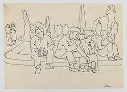 Mortimer Borne (American, born Poland, 1902-1987). Resting at the World's Fair, 1930. Pen and ink on paper, sheet: 7 7/8 x 11 in. (20 x 27.9 cm). Brooklyn Museum, Gift of Dr. and Mrs. Paul Flicker, 80.127.20. © artist or artist's estate