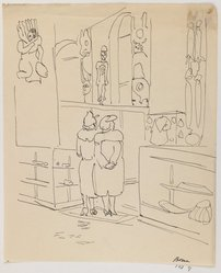 Mortimer Borne (American, born Poland, 1902-1987). Indian Hall Museum of Natural History, N.Y., 1934. Pen and ink on paper, sheet: 9 11/16 x 7 7/8 in. (24.6 x 20 cm). Brooklyn Museum, Gift of Dr. and Mrs. Paul Flicker, 80.127.9. © artist or artist's estate