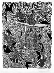 Siriviag Annagtuusi. The Flood, 1972. Color stone cut on paper, 33 3/8 x 25 3/16 in. (84.8 x 64 cm). Brooklyn Museum, Gift of Mr. and Mrs. Sid Feinberg, 80.208.1. © artist or artist's estate