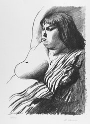 David Levine (American, 1926-2009). Fat Girl, 1963. Lithograph on paper, sheet: 17 5/8 x 13 1/8 in. (44.8 x 33.3 cm). Brooklyn Museum, Anonymous gift, 80.209.63. © artist or artist's estate