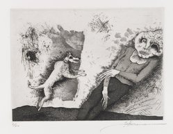 Gary Hansmann (American, born 1940). Dawn of the Dogs, 1979. Etching, aquatint, drypoint, Sheet: 11 x 12 7/8 in. (28 x 32.7 cm). Brooklyn Museum, Designated Purchase Fund, 80.28.2. © artist or artist's estate