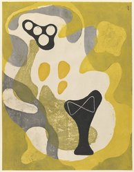 Onchi Koshiro (1891-1955). Abstraction, 1948. Woodblock print, 13 5/8 x 17 1/2 in. (34.6 x 44.5 cm). Brooklyn Museum, Gift of Dr. Hugo Munsterberg, 80.43.4. © artist or artist's estate