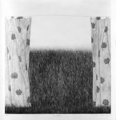 K. B. Hwang (Korean, 1932). Curtain, 1979. Mezzotint in color, Sheet: 13 11/16 x 11 11/16 in. (34.8 x 29.7 cm). Brooklyn Museum, Gift of H.M.K. Fine Arts, Inc., 80.48.4. © artist or artist's estate