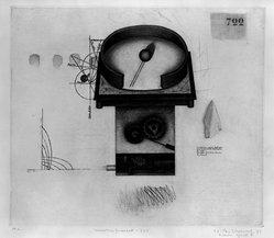 K. B. Hwang (Korean, 1932). Weather Forecast - 722, ca. 1977. Mezzotint in color, Sheet: 19 5/8 x 25 5/16 in. (49.8 x 64.3 cm). Brooklyn Museum, Gift of Hugh McKay, 80.50.2. © artist or artist's estate