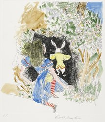 Knox Martin (American, born 1923). Alice and The Rabbit, 1978. Drypoint with chine-collé on paper, sheet: 19 5/8 x 17 1/8 in. (49.8 x 43.5 cm). Brooklyn Museum, Gift of Hugh McKay, 80.50.7. © artist or artist's estate