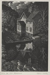 John DePol (American, 1913-2004). Mill on the Aspetuck, 1952. Wood engraving, Sheet: 8 5/8 x 6 9/16 in. (21.9 x 16.7 cm). Brooklyn Museum, Designated Purchase Fund, 80.60.2. © artist or artist's estate