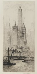 Albert Flanagan (American, 1886-1969). Wall Street Group (Towers of Manhattan), 1931. Etching with drypoint on cream-colored laid paper, Sheet: 17 3/16 x 9 7/16 in. (43.7 x 24 cm). Brooklyn Museum, Gift of Ferdinand Eiseman, 80.83.10. © artist or artist's estate