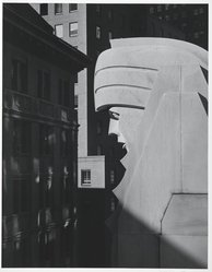 David Anderson (American, born 1943). Head, 20 Exchange Place, New York City, 1981. Photograph, image/sheet: 13 1/4 x 10 3/8 in. (33.7 x 26.4 cm). Brooklyn Museum, Gift of the artist, 81.136. © artist or artist's estate