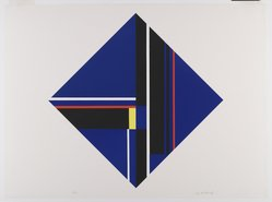 Ilya Bolotowsky (American, born Russia, 1907-1981). Blue Diamond, 1979. Serigraph on paper, Sheet: 19 15/16 x 19 15/16 in. (50.6 x 50.6 cm). Brooklyn Museum, Gift of R. Michael Heidenberg, 81.19.1. © artist or artist's estate