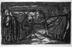 Adja Yunkers (American, born Latvia, 1900-1983). Ostia Antica I, 1955. Woodcut Brooklyn Museum, Gift of Barry H. Garfinkel, 81.226.1. © artist or artist's estate