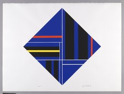 Ilya Bolotowsky (American, born Russia, 1907-1981). Untitled, 1979. Screenprint on paper, Diamond shaped: 22 1/8 x 22 1/8 in. (56.2 x 56.2 cm). Brooklyn Museum, Gift of Dr. and Mrs. Kenneth Lawrence, 81.237.1. © artist or artist's estate