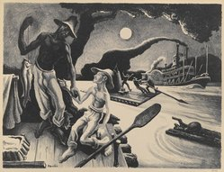 Thomas Hart Benton (American, 1889-1975). Huck Finn, 1936. Lithograph, Sheet: 20 1/8 x 24 in. (51.1 x 61 cm). Brooklyn Museum, Gift of Dr. and Mrs. Theodore Kamholtz, 81.261.1. © artist or artist's estate