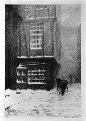 Albert Windslow Barker (American, 1874-1947). Snow, Rouen Street, 1927. Lithograph on cream-colored wove paper, Image: 8 1/4 x 5 11/16 in. (21 x 14.5 cm). Brooklyn Museum, Frank L. Babbott Fund, 81.98.2. © artist or artist's estate