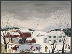Anna Mary Robertson Moses (American, 1860-1961). Early Skating, 1951. Oil and tempera on Masonite, 17 15/16 x 24 in. (45.6 x 61 cm). Brooklyn Museum, Gift of the Estate of R. Thornton Wilson, 83.122.2. © 1973 (renewed 2001) Grandma Moses Properties Co., New York