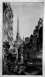 John Taylor Arms (American, 1887-1953). Rue Sauton, 1924. Etching Brooklyn Museum, Gift of Mr. and Mrs. Peter P. Pessutti, 83.220. © artist or artist's estate