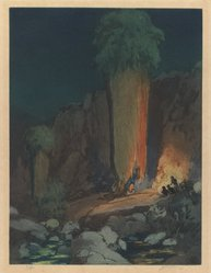 Urushibara Mokuchu (Japanese, 1888-1953). The Ceremonial Cave, 20th century. Color etching, 13 5/8 x 10 1/8 in. (34.6 x 25.7 cm). Brooklyn Museum, Gift of Mr. and Mrs. Peter P. Pessutti, 83.244.1. © artist or artist's estate