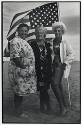Victor Friedman (American, born 1930). Three Women and Flag, Coney Island, 1972. Gelatin silver photograph, mount: 17 15/16 x 22 in. (45.6 x 55.9 cm). Brooklyn Museum, Gift of the artist, 83.76.6. © artist or artist's estate