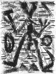 A.R. Penck (German, born 1939). Untitled, 1984. Drypoint etching on paper, sheet (image): 32 3/4 x 25 in. (83.2 x 63.5 cm). Brooklyn Museum, Designated Purchase Fund, 84.165. © artist or artist's estate