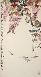 Blue Jay, Wisteria and River Trout, ca. 1960. Hanging scroll, ink and color on paper, Image: 31 3/4 x 17 in. (80.6 x 43.2 cm). Brooklyn Museum, Gift of Dr. and Mrs. John P. Lyden, 84.196.14. © artist or artist's estate