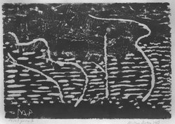 Milton Avery (American, 1885-1965). Trees By The Sea, 1953. Woodcut on light Japanese wove paper, Image: 9 5/8 x 13 7/8 in. (24.4 x 35.2 cm). Brooklyn Museum, Gift of the Board of Governors in honor of Josephine Palmer Voorhees on the occasion of her 90th birthday, 84.220. © artist or artist's estate