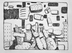 Philip Guston (American, born Canada, 1913-1980). The Street, 1970. Lithograph on Arches buff paper, Sheet: 22 5/16 x 30 1/16 in. (56.6 x 76.4 cm). Brooklyn Museum, Gift of Dr. Samuel S. Mandel, 84.230.4. © artist or artist's estate